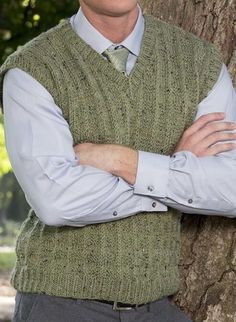Free Knitting Pattern for Crawley Vest - V-necked pullover man's vest inspired by Downton Abbey. Sizes Small (Medium, Large, X-Large, XX-Large). Designed by Premier Yarns