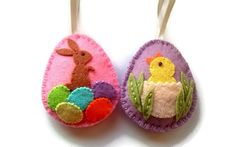 DELIVERY AFTER CHRISTMAS Felt Easter decoration, felt eggs with chicken and bunny, felt Easter ornaments, spring home decor, Easter Bunny