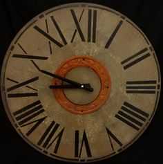 18 Inch  CLASSIC WALL CLOCK  with Roman Numerals and Decorative Glazed Rust Metal Trim in Warm Shades of Gray with Rust Highlights by ClocksByHomestead on Etsy