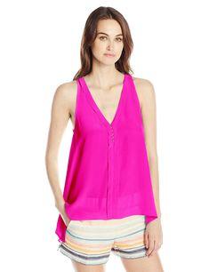 Trina Turk Women's Lodi Silk Crepe De Chine Sleeveless Top, Gemini Pink, Medium