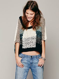 Free People Chunky Colorblock Short Sleeve Pullover, TL247.63