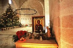 Interior of a church by the Sea Of Galilee at christmas