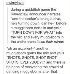 Muggleborn headcanons are the best.