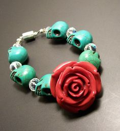 Sugar Skull Jewelry Day of the Dead Large Red Rose and Sugar Skull Bracelet Halloween jewelry