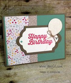 Jan's fun card: Perfect Pairings (SAB), It's My Party dsp stack & enamel dots, Dazzling Diamonds Glimmer Paper, Lots of Labels framelits, Balloon Bouquet Punch - all from Stampin' Up!