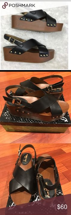 "Sam Edelman Bentlee Platform Sandals These platform sandals have a retro-chic look. Leather upper with studded detail. Sling back strap with adjustable closure. Wooden platform (approx 1.75). Heel is approx 2.5"". Size 10.5. New with tags and box 📦. Sam Edelman Shoes Platforms"