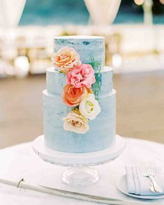 Paper Cake Events baked a three-tiered white cake with fruit filling, Elegant Wedding Cakes, Beautiful Wedding Cakes, Beautiful Cakes, Ethereal Wedding, Amazing Cakes, Pastel Blue Wedding, Watercolor Cake, Paper Cake, Cake Trends