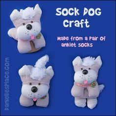 Sock Dog Craft - How to Make Sock Dogs from Anklet Socks from www.daniellesplace.com