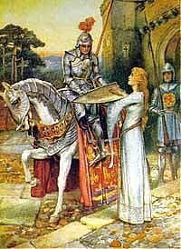 """*""""Lancelot Gives his Shield to Elaine""""                                      """"Elaine Guarding Lancelot's Shield"""" by Arthur A. Dixon"""