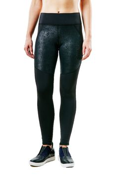 The sleek black look is combined with a shiny python print just gives the leggings a 360 look. These aren't your typical everyday leggings. #black