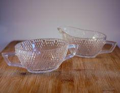 Vintage Clear Glass Creamer and Sugar Bowl Set