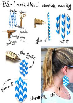 Pick up some retro Barbershop-inspired Paper straws. Glue together was a few dabs of hot glue to make your chevron pattern.  Trim straws to desired length and shape, glue together (feel free to trim again), and poke a little hole in the top where your earring wire can slide through.