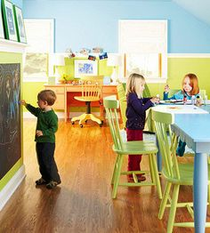 Nurture your little artists with a space that fosters creativity and fun. Separate work areas give kids space to spread out their paints and crayons. A chalkboard wall adds a  unique element to this room. Look for special chalkboard paint at a home improvement store. Follow the directions, get some colorful chalk, and let your kids go to town.