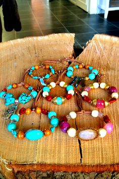 MomMa's gemstone and wooden beads bracelets