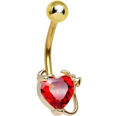 Gold Plated Red Gem Devious Devil Heart Belly Ring | Body Candy Body Jewelry #bodycandy