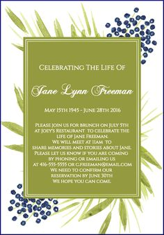 37 best funeral reception invitations images on pinterest funeral 39 best funeral reception invitations stopboris Gallery