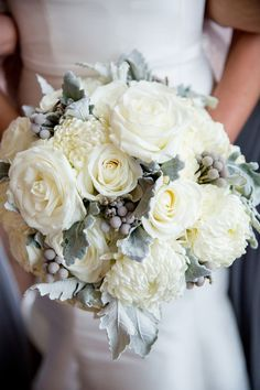 Winter white wedding bouquet  - white roses, chrysanthemums, silver brunia + dusty miller {NeriPhoto}
