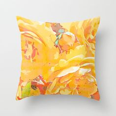 Rose watercolor pillow floral pillow cover rose by NewCreatioNZ