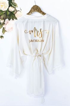 Bride Robe Personalized - Bride Robe Cotton - Mrs Robe - Mrs Gifts - Bridal Shower Gift for Bride Getting Ready Robe by ModParty Bridal Shower Gifts For Bride, Bridal Party Robes, Gifts For The Bride, Bride Hanger, Bride Getting Ready, Bridal Robes Getting Ready, Bridesmaid Robes, Bridesmaids, Bridesmaid Gift To Bride