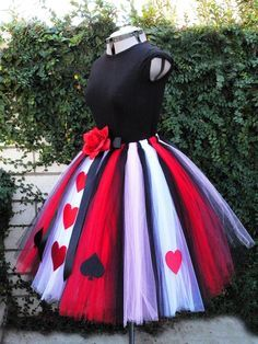 Queen of Hearts - Adult Teen Pre-teen Costume Tutu - Custom Sewn Tutu - up to 36 long - For Halloween and Birthday - Size Small. $150.00