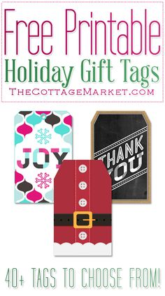 Free Printable Holiday Gift Tags (A great collection for everyone on your list) - The Cottage Market