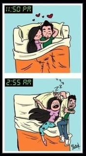 haha In my last relationship, I was the one being squished off the bed!