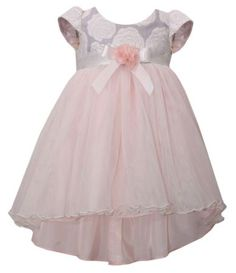 Bonnie Baby Girls Newborn-24 Months Rose-Jacquard-Bodice Mesh-Ballerina Dress | Dillards