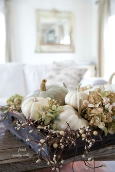 The Chic Technique: Fall Decor - Autumn vignette, White Pumpkins Thanksgiving Table, Thanksgiving Decorations, Seasonal Decor, Vintage Thanksgiving, Christmas Tables, Holiday Tables, Christmas Birthday, Fall Home Decor, Autumn Home
