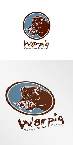 Warpig Energy Drink Logo. Logo showing illustration of a wild pig boar razorback head viewed from the side set inside circle on isolated background done in retro style. 100% re-sizeable