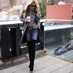 Perfect winter outfit. Cozy sweater, Stuart Weitzman over-the-knee boots, Gucci belt.
