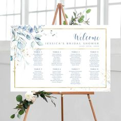 #seatingchart #seatingplan #seatingchartsign #findyourseat #seatingchartposter #bridalshower #bridalshowerdecor #bridalshowersign #bridalshowersigns #blue #lavender #eucalyptus #printable #printables #diy Cream Roses, Blush Roses, Seating Chart Wedding, Seating Charts, Rgb Color Space, Photo Booth Frame, Wedding Welcome Signs, Floral Theme, Print Store
