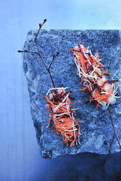 Langoustine with semidried root vegetables.