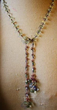Prasiolite, tanzanite, vintage crystals, hand wired, one of a kind