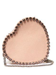 STELLA MCCARTNEY Heart Falabella Embellished Cross-Body Bag. #stellamccartney #bags #leather #crystal