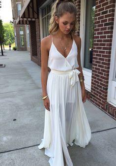 White maxi dress #swoonboutique