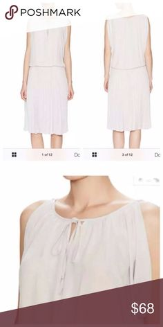 BCBG Lona Dove Gray Sleeveless SZ L Fresh spring appeal to this flowy pleated dress. BCBG Dresses