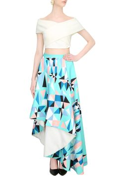 White cross over top with mint green printed asymmetric skirt by SHIVANI AWASTY…
