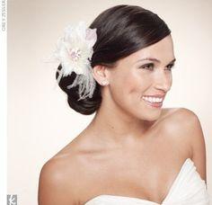side bun & fascinator : wedding side bun fascinator Side Bun W Flower Side Bun Updo, Side Bun Hairstyles, Pretty Hairstyles, Wedding Hairstyles, Low Chignon, Side Buns, Perfect Hairstyle, Side Ponytails, Wedding Hair And Makeup