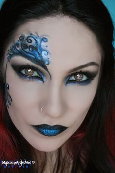 Make-up Artist Me!: Blue Secret- blue masquerade makeup tutorial -- costume halloween