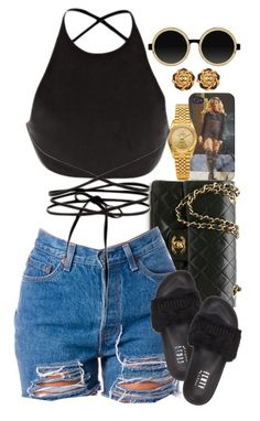 """""""Untitled #1528"""" by power-beauty ❤ liked on Polyvore featuring Rolex, Chanel, Calvin Klein Collection, Moscot and Puma"""