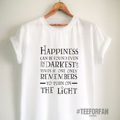 Harry Potter Shirts Harry Potter Merchandise Happyness Darkest Of Times and Light Quote T Shirts Clothes Apparel Top Tee for Women Girls Men