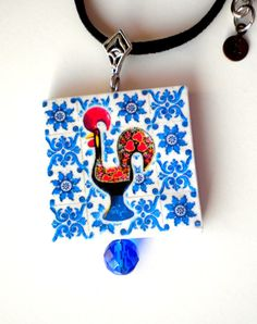 Portugal Antique Azulejo Tile Necklace  with ROOSTER or by Atrio, $35.00