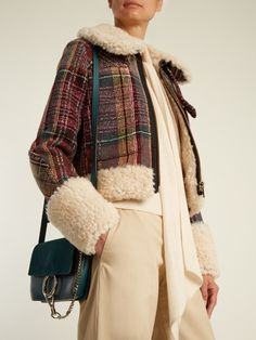 Shearling and wool-blend tweed jacket