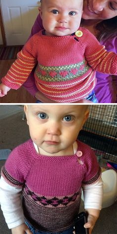 Easy-On Pullovers for Babies and Children Knitting Patterns - Free Knitting Pattern for Scrap Sweater for Babies and Children – Baby and children& pullov - Pull Crochet, Crochet Baby, Pull Bebe, Sweater Knitting Patterns, Knitting Sweaters, Knit Patterns, Toddler Sweater, Knitting For Kids, Free Knitting