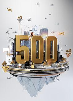 Global 500 // Fortune Magazine // CGI Illustration on Behance