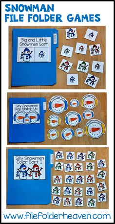 12 Simple Snowmen themed file folder games that focus on basic matching and sorting skills. Super-cute and FUN!