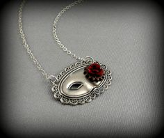 Antique Silver Masquerade, Mask, Steampunk, Red Flower, Watch Gear, Victorian Necklace- SEDUCTION