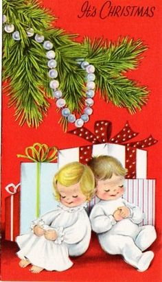 children under the tree vintage Christmas card