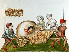 A pie-baker, Konzil von Konstanz (ÖNB 3044, fol. 48v), c. 1465-1475; Here again, the illustrator has included a pole where pretzels are cooling, and a portable oven