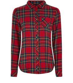 Teens Red Tartan Check Long Sleeve Shirt   New Look